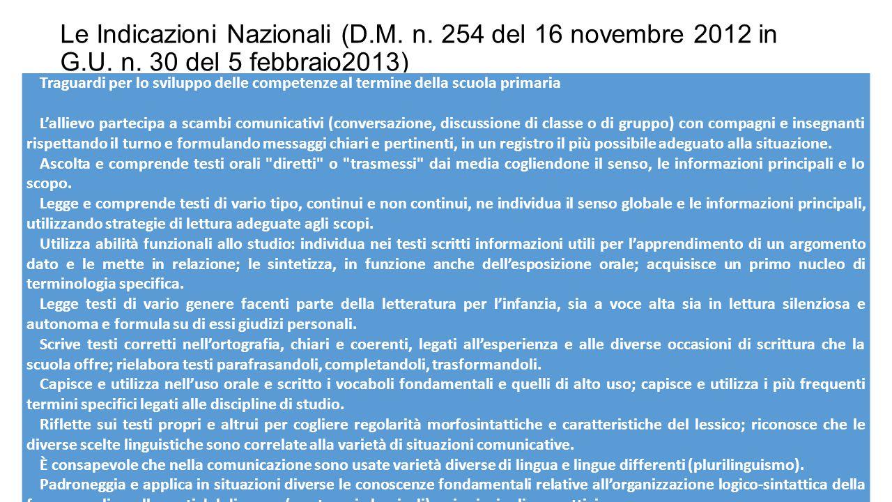Le Indicazioni Nazionali (D. M. n. 254 del 16 novembre 2012 in G. U. n