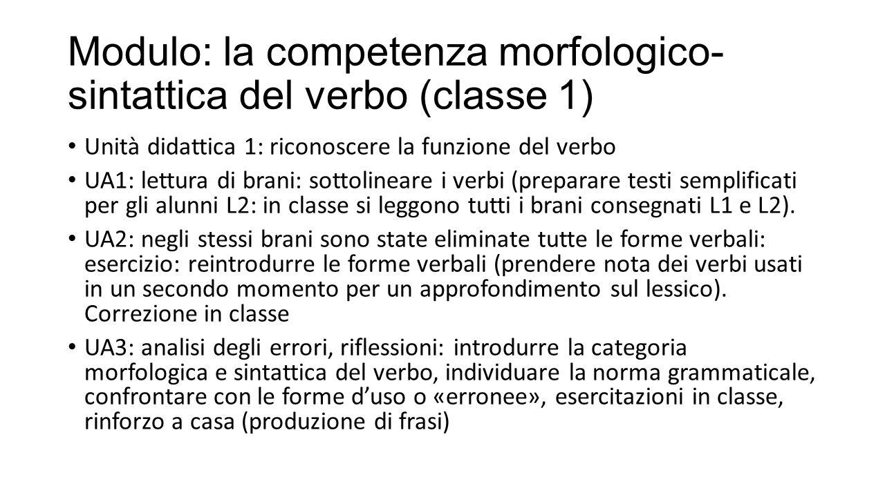 Modulo: la competenza morfologico-sintattica del verbo (classe 1)