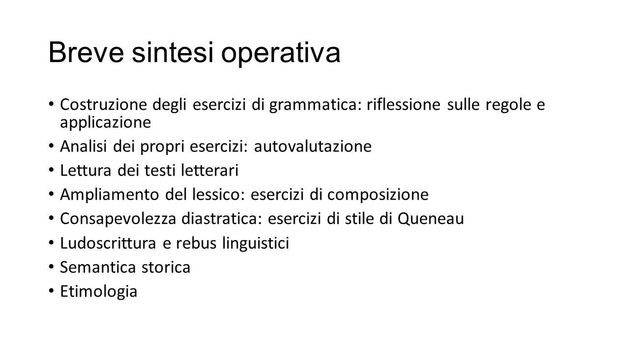 Breve sintesi operativa