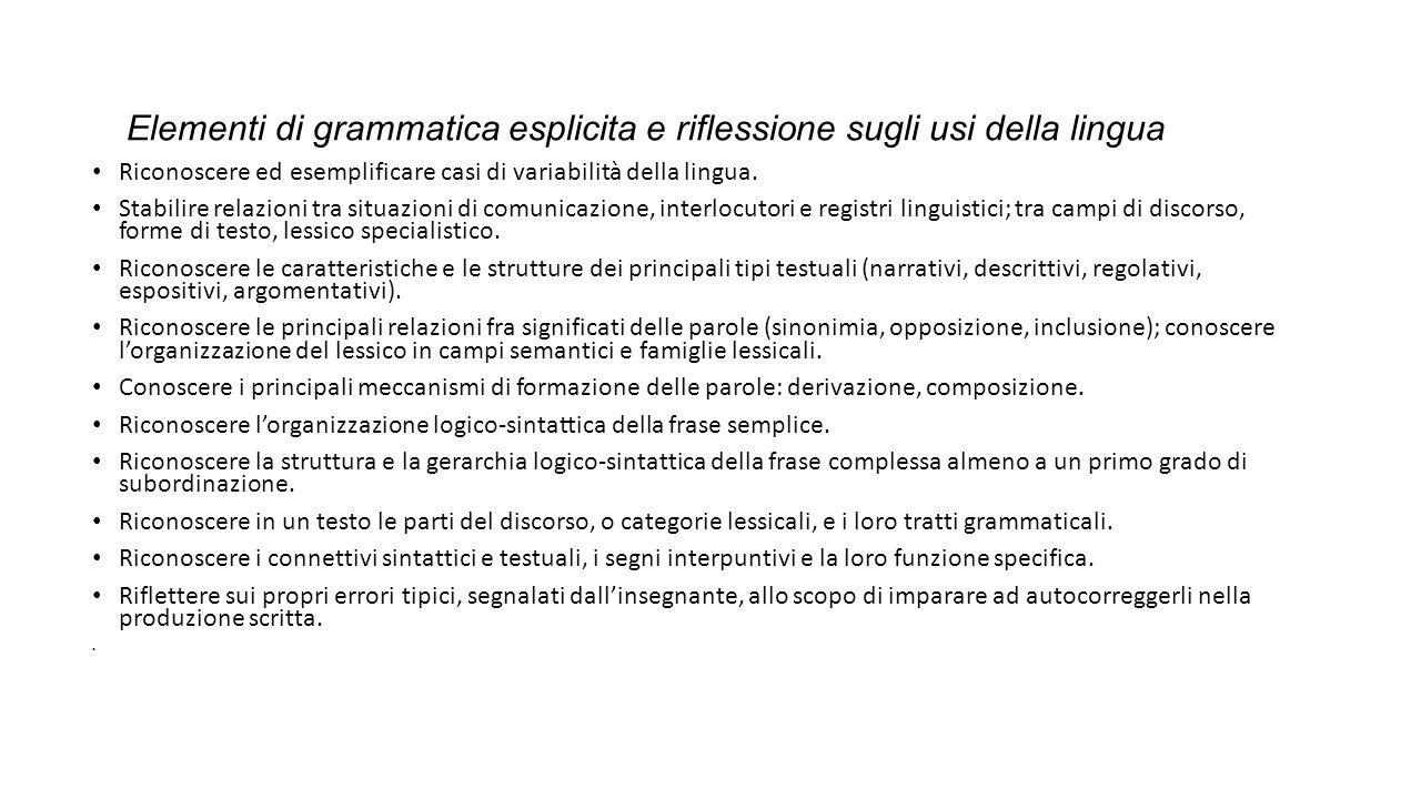 Elementi di grammatica esplicita e riflessione sugli usi della lingua