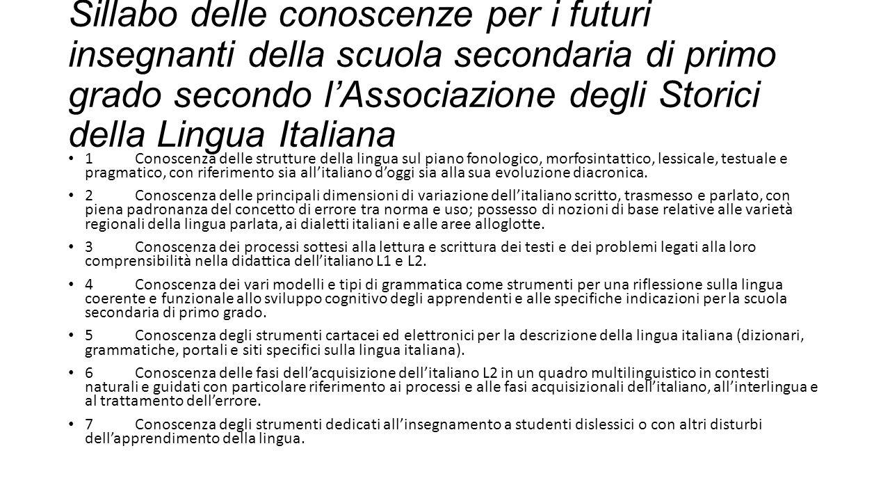 Sillabo delle conoscenze per i futuri insegnanti della scuola secondaria di primo grado secondo l'Associazione degli Storici della Lingua Italiana