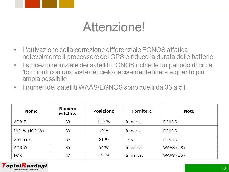 Attenzione! L attivazione della correzione differenziale EGNOS affatica notevolmente il processore del GPS e riduce la durata delle batterie.