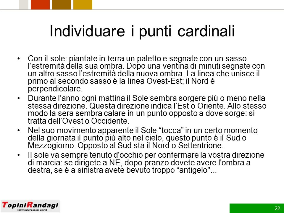 Individuare i punti cardinali
