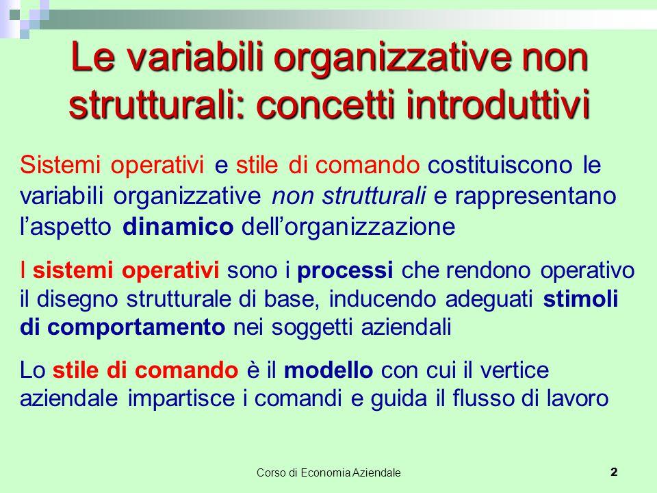 Le variabili organizzative non strutturali: concetti introduttivi