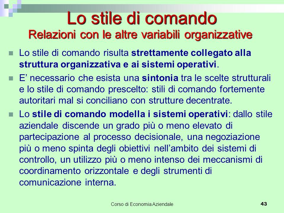 Relazioni con le altre variabili organizzative