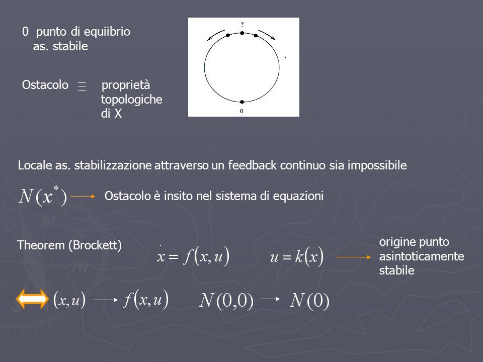 0 punto di equiibrio as. stabile. Ostacolo proprietà. topologiche. di X.