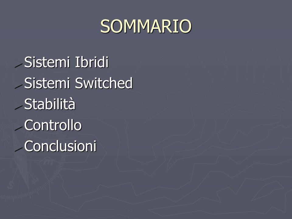 SOMMARIO Sistemi Ibridi Sistemi Switched Stabilità Controllo
