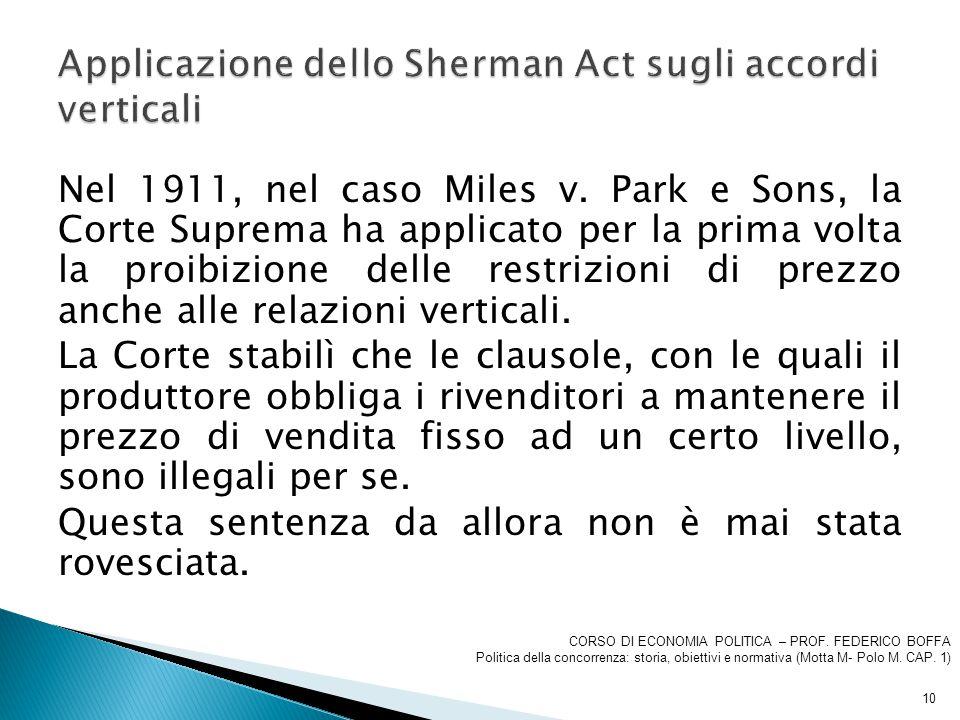 Applicazione dello Sherman Act sugli accordi verticali