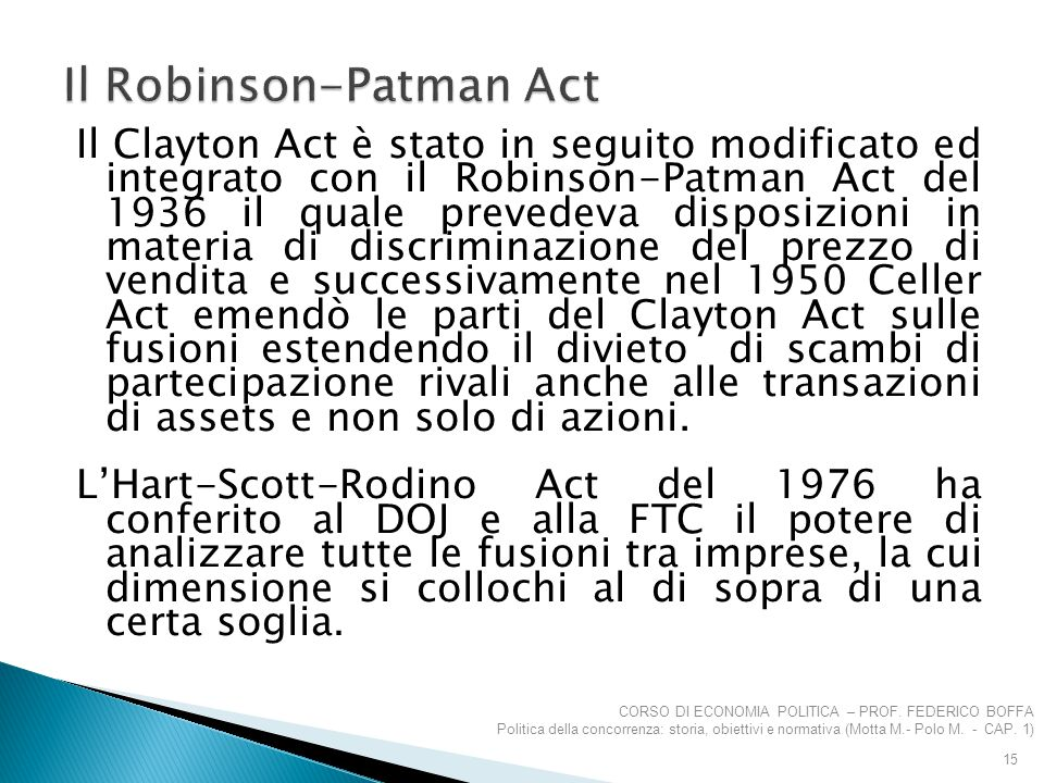 Il Robinson-Patman Act