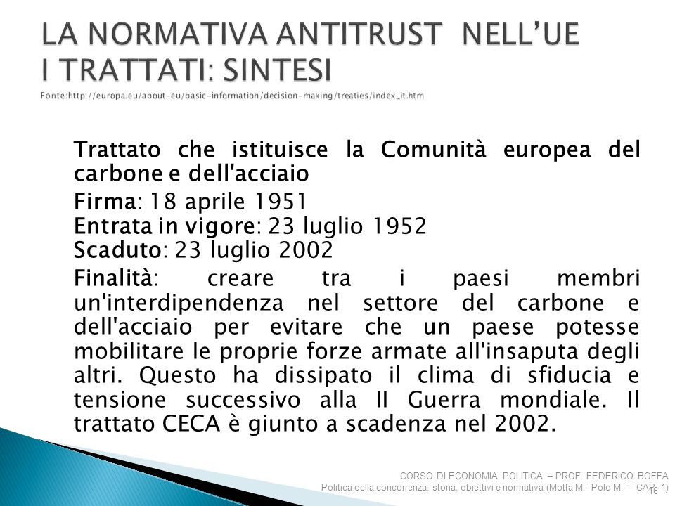 LA NORMATIVA ANTITRUST NELL'UE I TRATTATI: SINTESI Fonte:http://europa