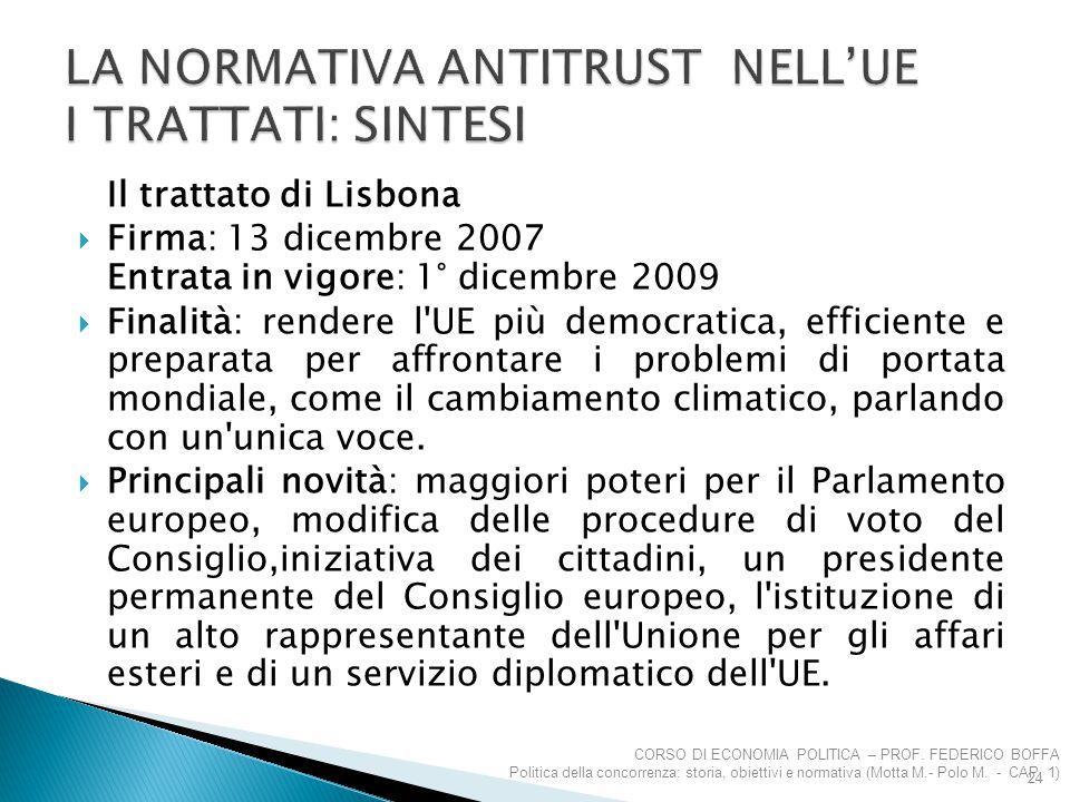 LA NORMATIVA ANTITRUST NELL'UE I TRATTATI: SINTESI