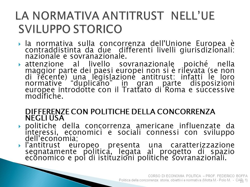 LA NORMATIVA ANTITRUST NELL'UE SVILUPPO STORICO