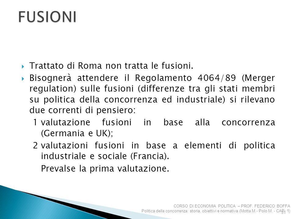 FUSIONI Trattato di Roma non tratta le fusioni.