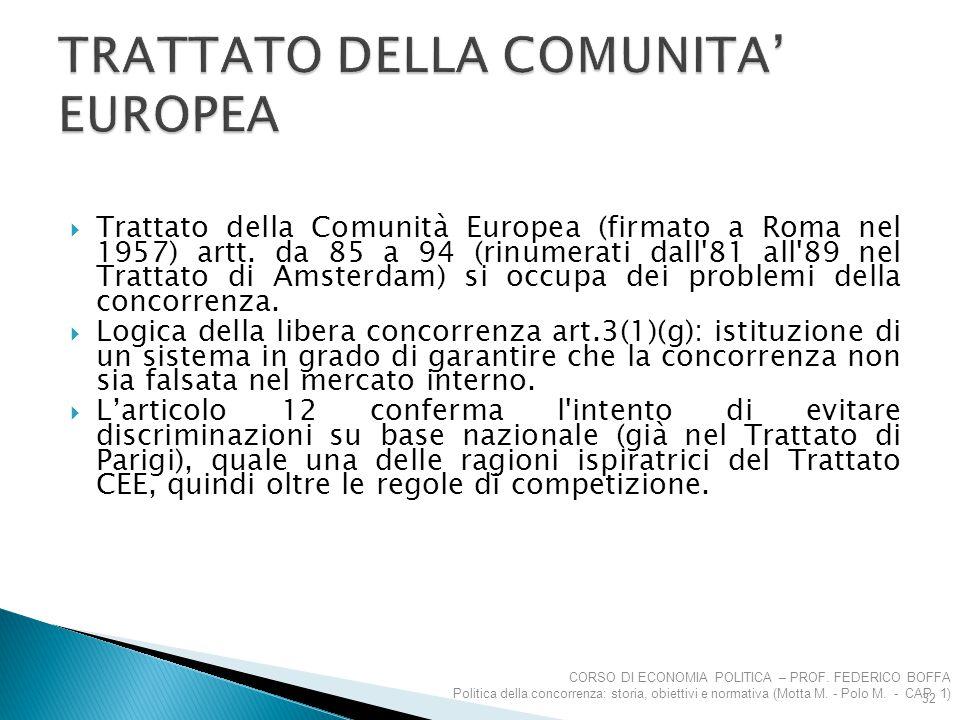 TRATTATO DELLA COMUNITA' EUROPEA