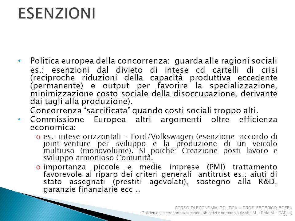 ESENZIONI Politica europea della concorrenza: guarda alle ragioni sociali.