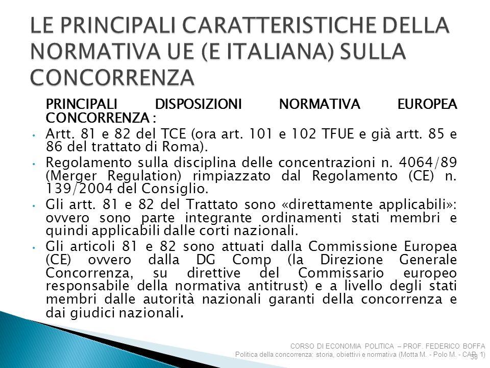 LE PRINCIPALI CARATTERISTICHE DELLA NORMATIVA UE (E ITALIANA) SULLA CONCORRENZA