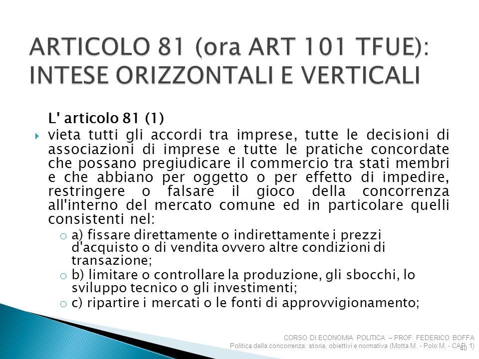 ARTICOLO 81 (ora ART 101 TFUE): INTESE ORIZZONTALI E VERTICALI
