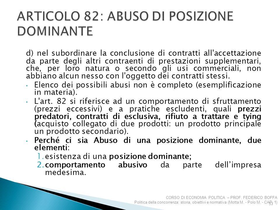 Articolo 82: abuso di posizione dominante