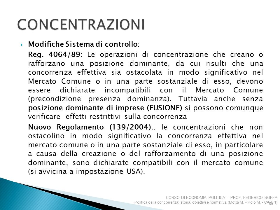 Concentrazioni Modifiche Sistema di controllo: