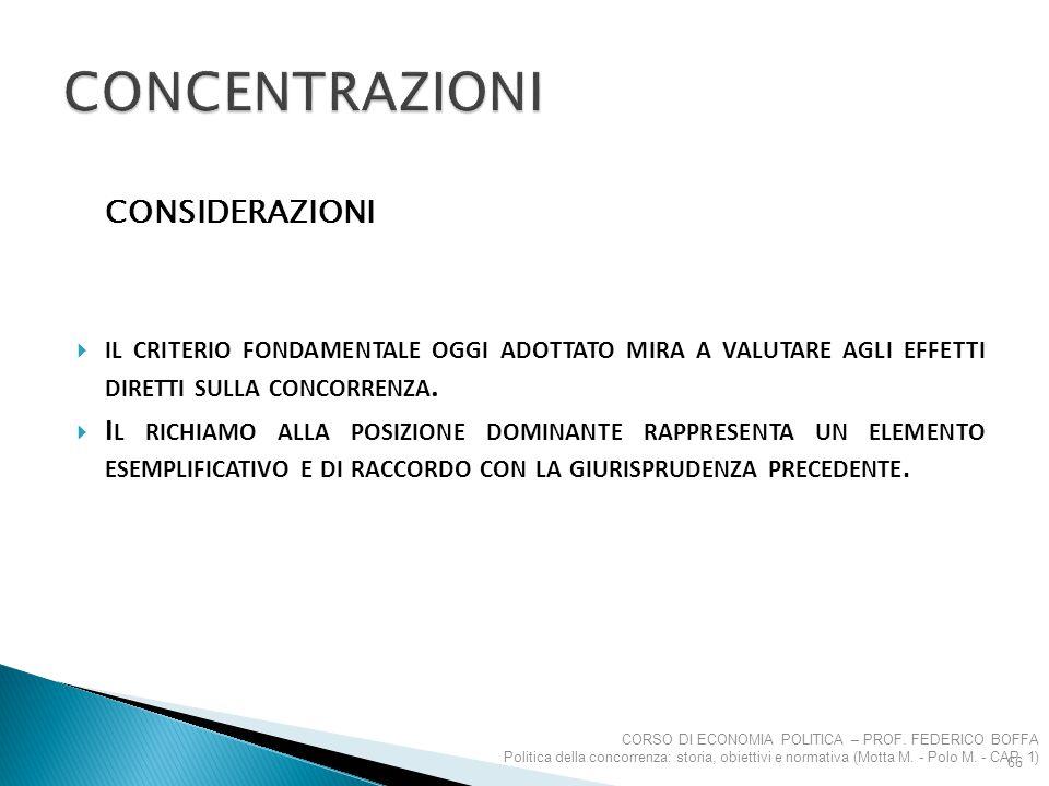 Concentrazioni CONSIDERAZIONI