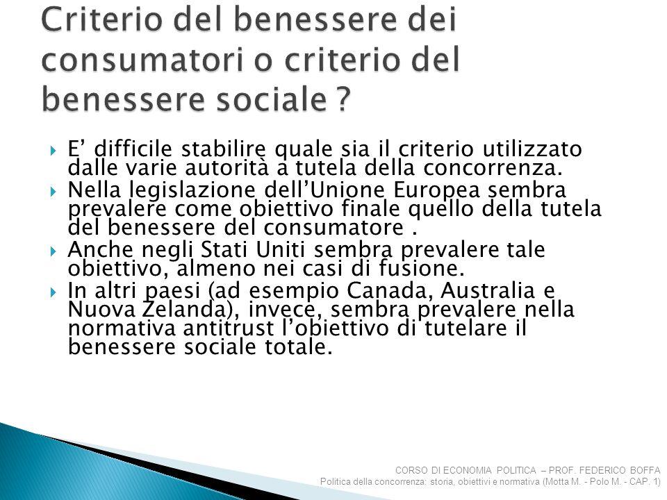 Criterio del benessere dei consumatori o criterio del benessere sociale