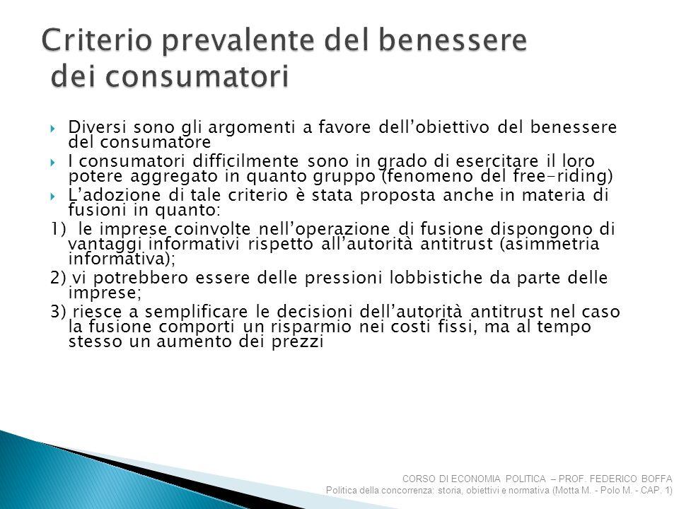 Criterio prevalente del benessere dei consumatori