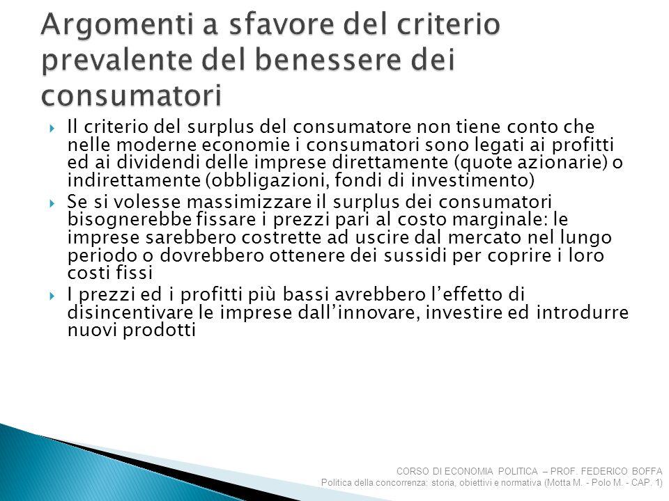 Argomenti a sfavore del criterio prevalente del benessere dei consumatori