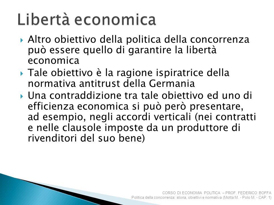 Libertà economica Altro obiettivo della politica della concorrenza può essere quello di garantire la libertà economica.