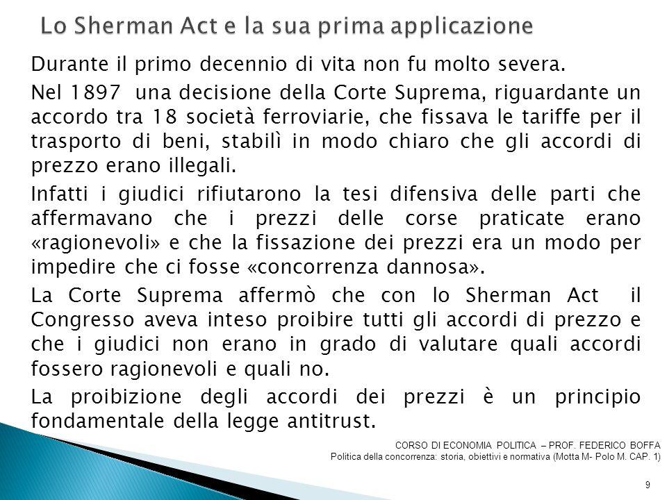 Lo Sherman Act e la sua prima applicazione
