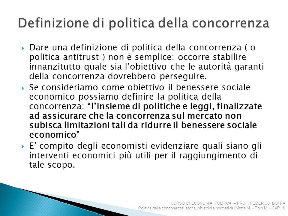 Definizione di politica della concorrenza