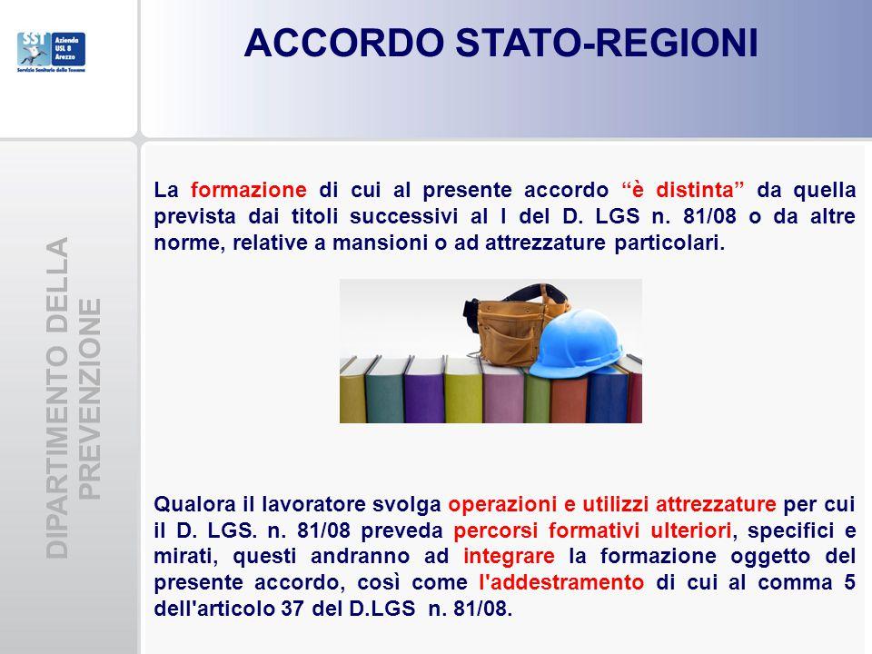 ACCORDO STATO-REGIONI DIPARTIMENTO DELLA PREVENZIONE