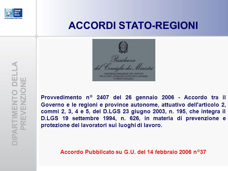 ACCORDI STATO-REGIONI