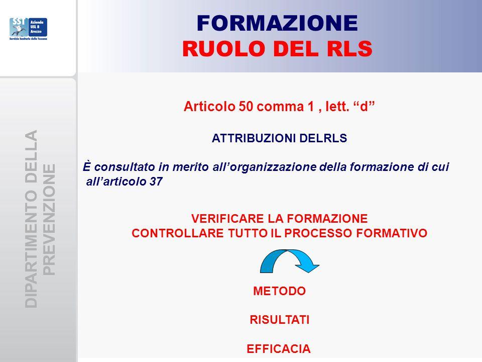 FORMAZIONE RUOLO DEL RLS DIPARTIMENTO DELLA PREVENZIONE
