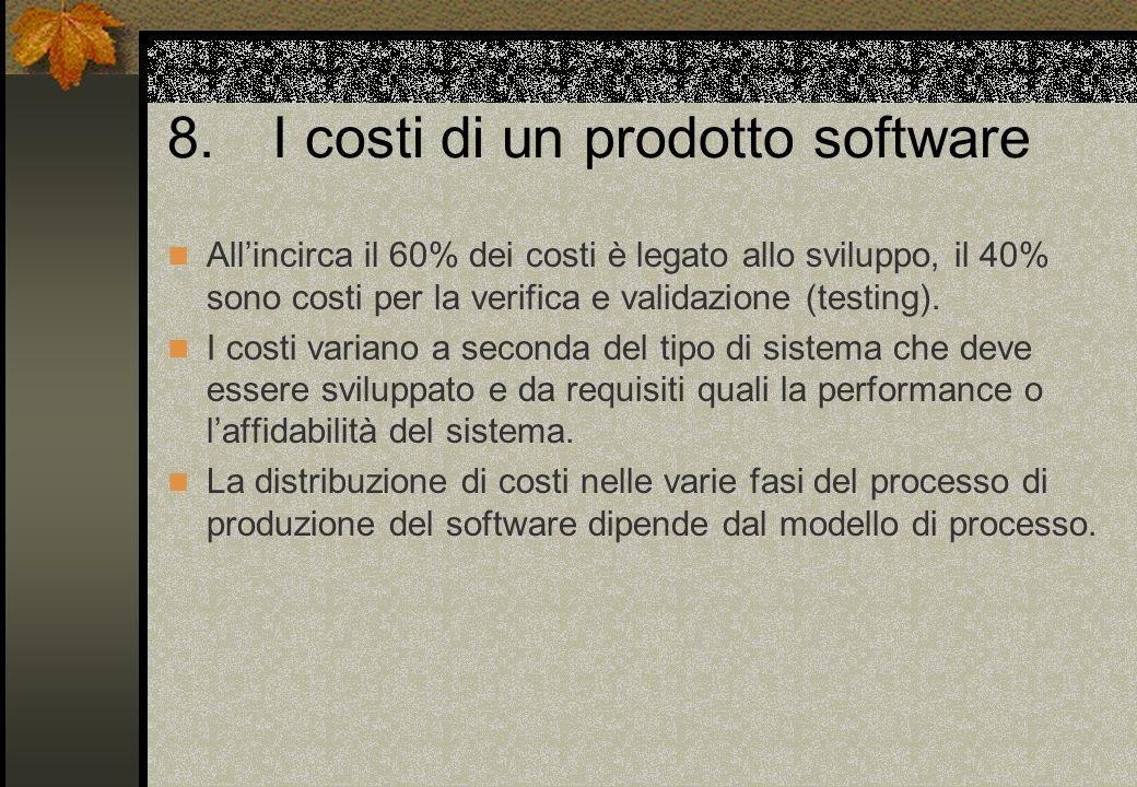 8. I costi di un prodotto software