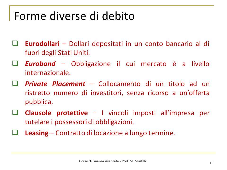 Forme diverse di debito