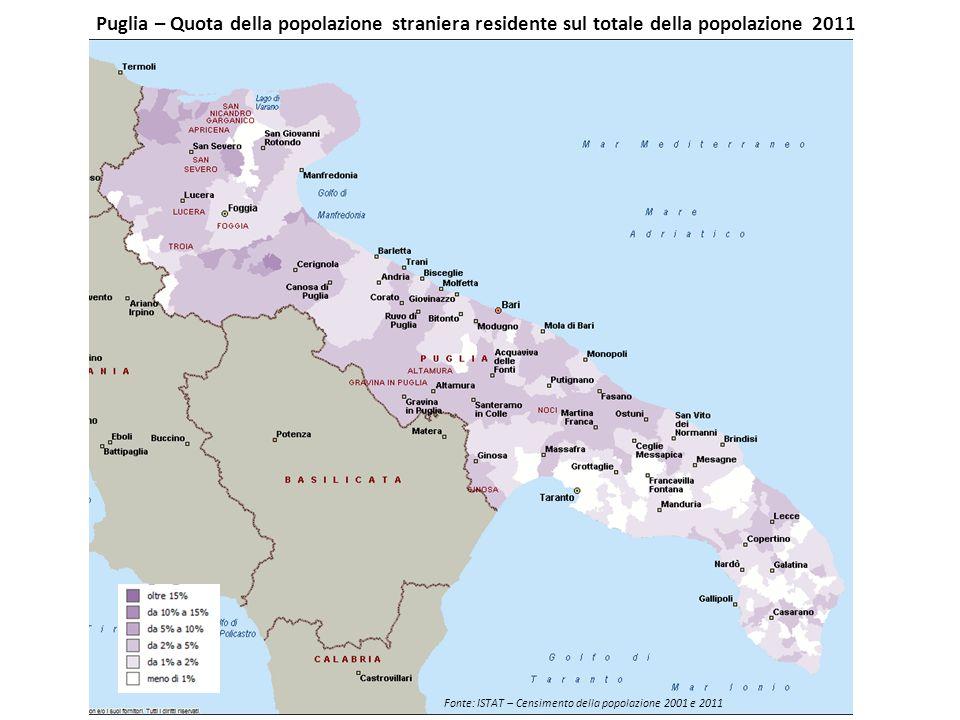 Puglia – Quota della popolazione straniera residente sul totale della popolazione 2011