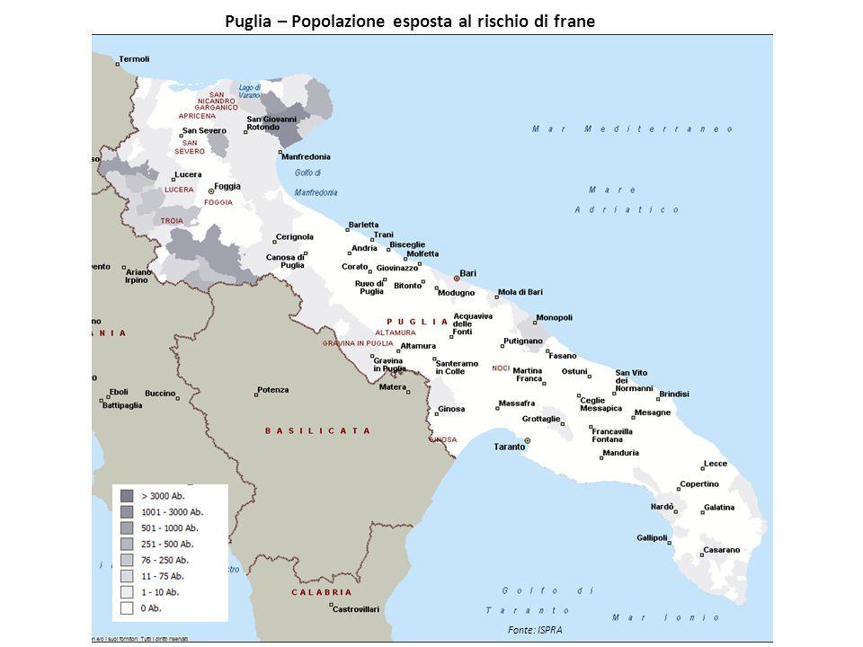 Puglia – Popolazione esposta al rischio di frane
