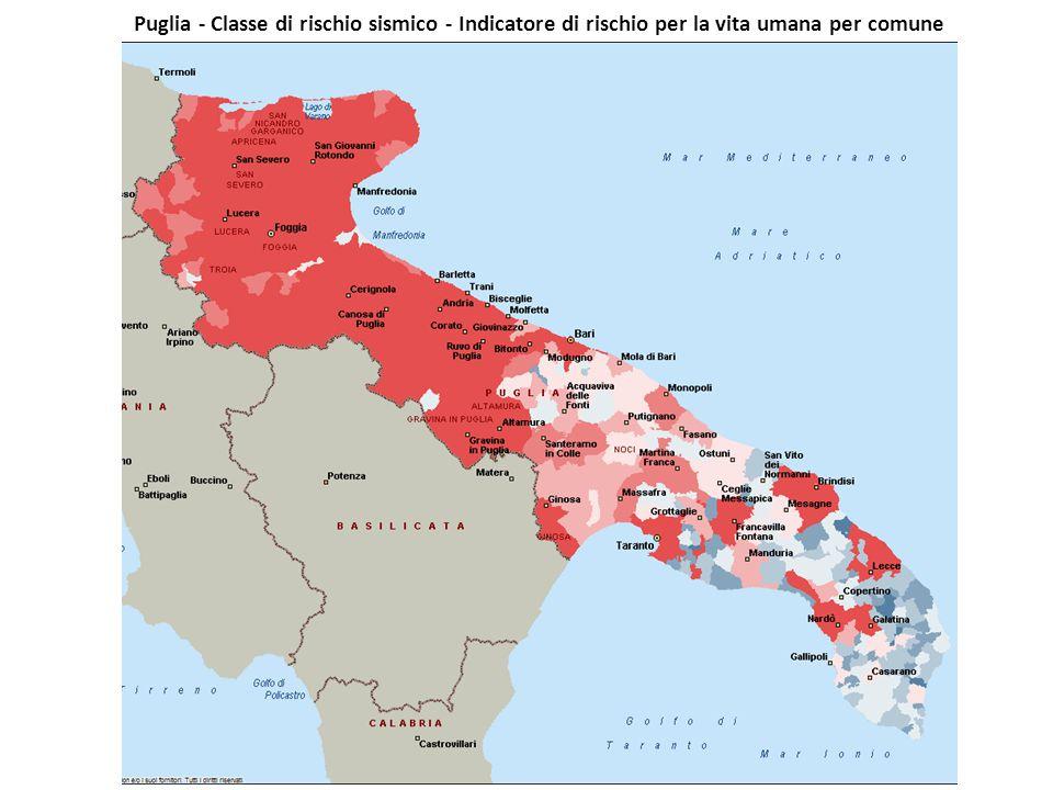 Puglia - Classe di rischio sismico - Indicatore di rischio per la vita umana per comune