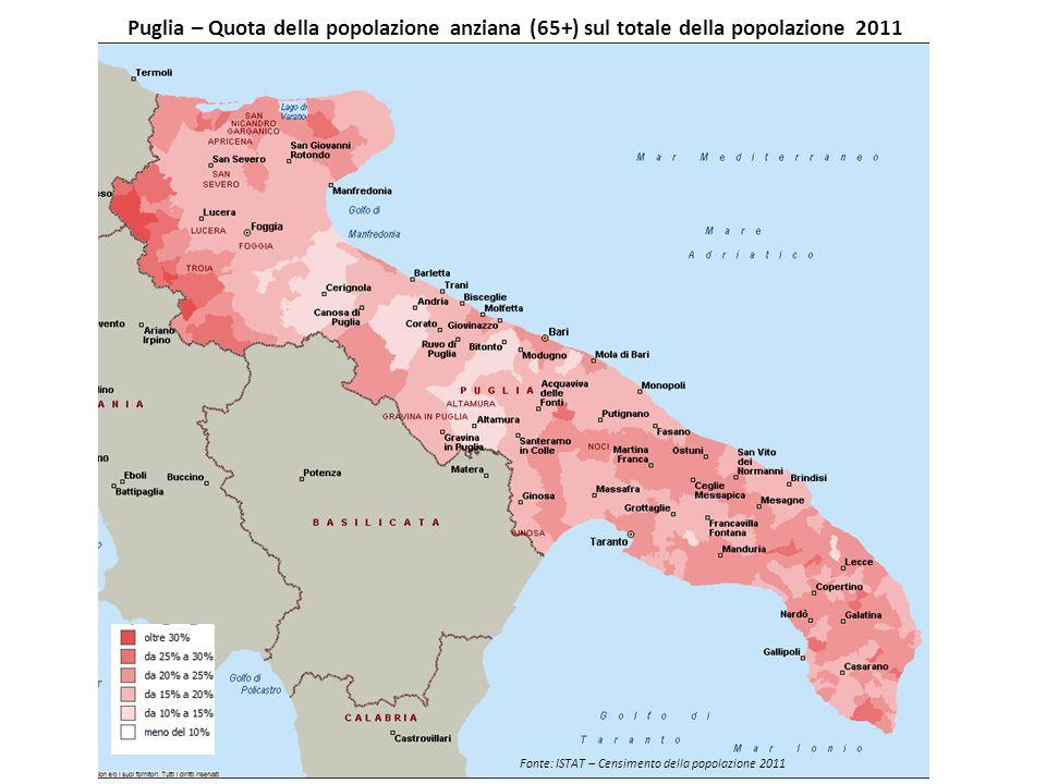Puglia – Quota della popolazione anziana (65+) sul totale della popolazione 2011