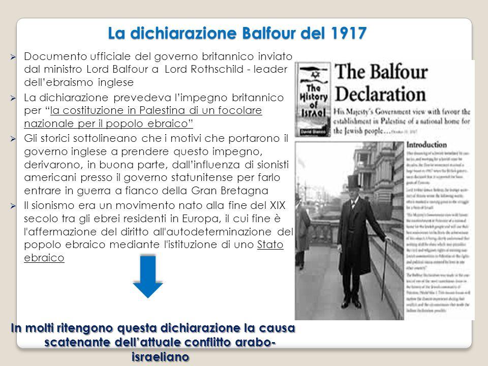 La dichiarazione Balfour del 1917