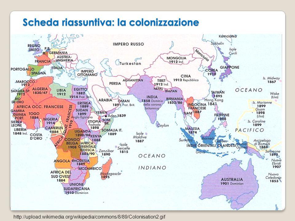 Scheda riassuntiva: la colonizzazione
