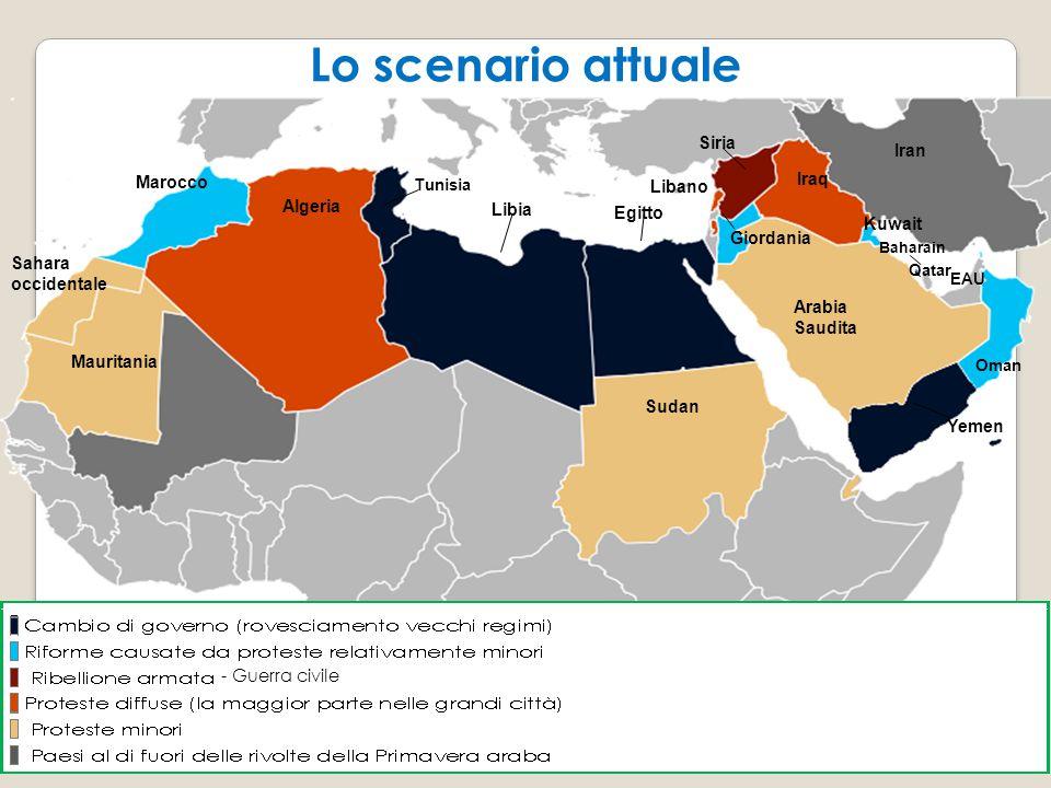 Lo scenario attuale Lo scenario attuale Siria Iran Marocco Iraq Libano