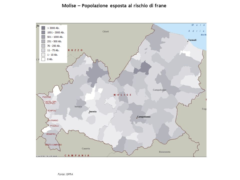 Molise – Popolazione esposta al rischio di frane