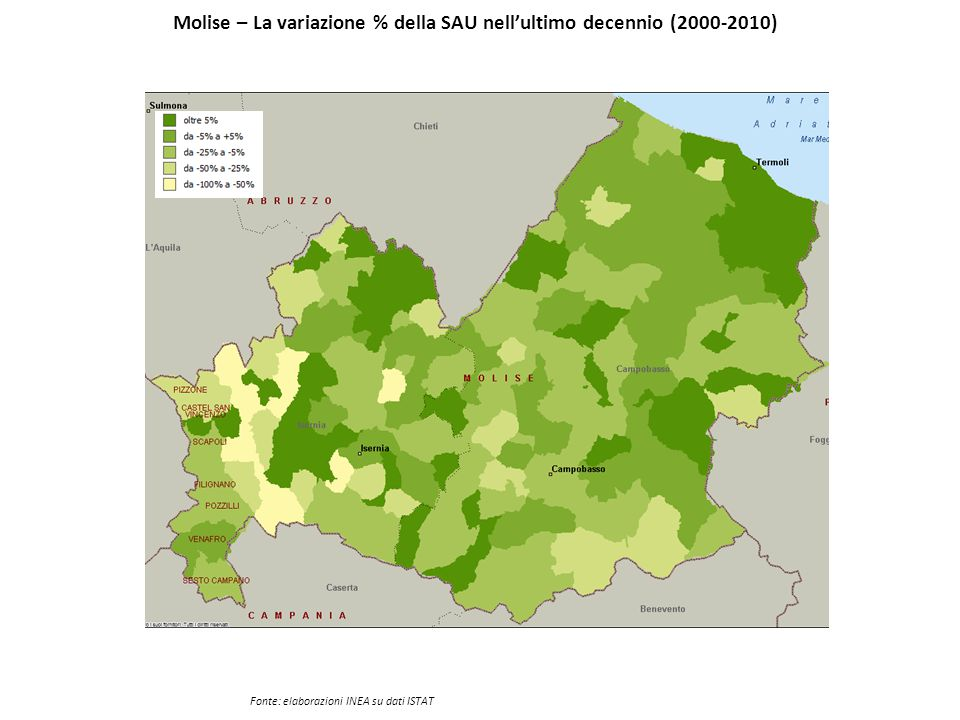 Molise – La variazione % della SAU nell'ultimo decennio (2000-2010)