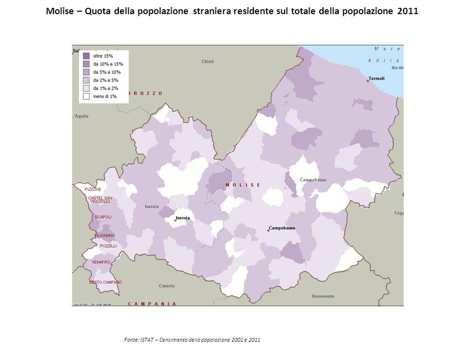 Molise – Quota della popolazione straniera residente sul totale della popolazione 2011