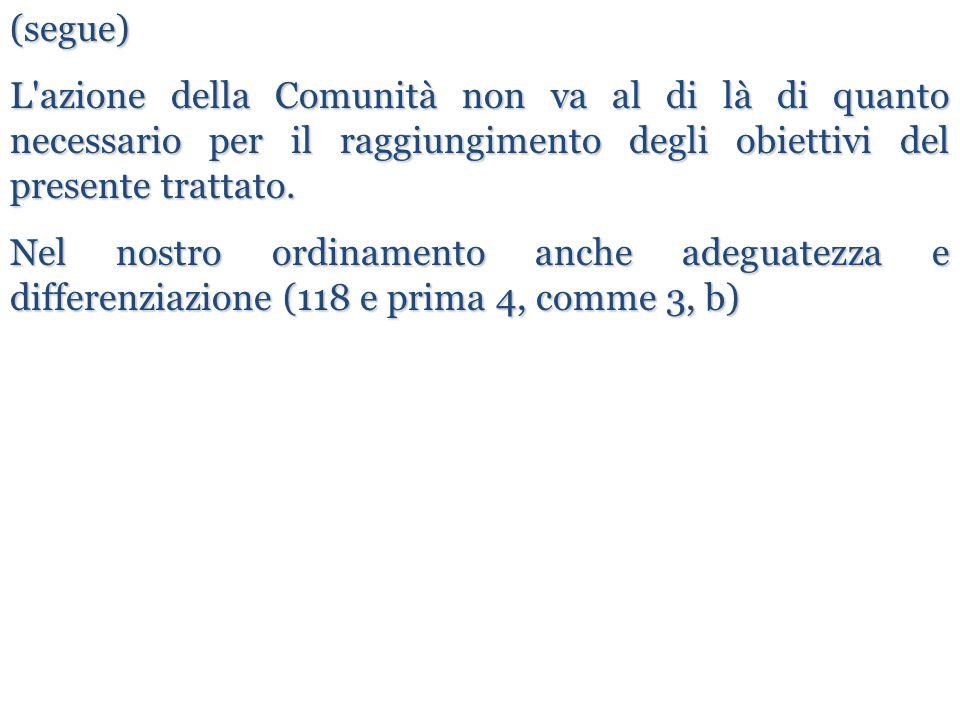 (segue) L azione della Comunità non va al di là di quanto necessario per il raggiungimento degli obiettivi del presente trattato.