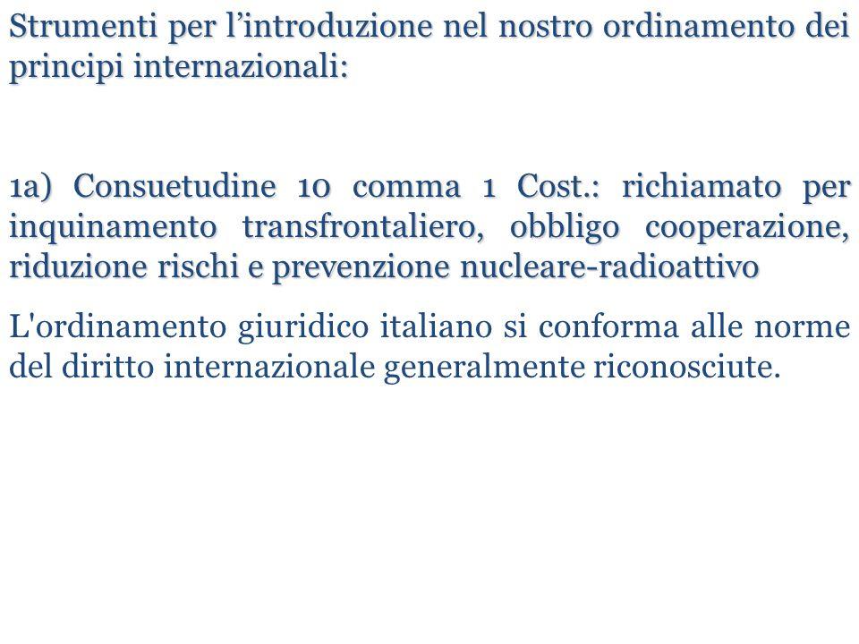 Strumenti per l'introduzione nel nostro ordinamento dei principi internazionali: