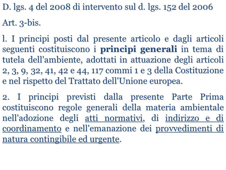 D. lgs. 4 del 2008 di intervento sul d. lgs. 152 del 2006