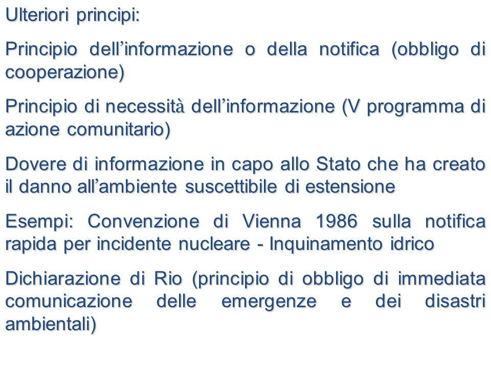 Ulteriori principi: Principio dell'informazione o della notifica (obbligo di cooperazione)