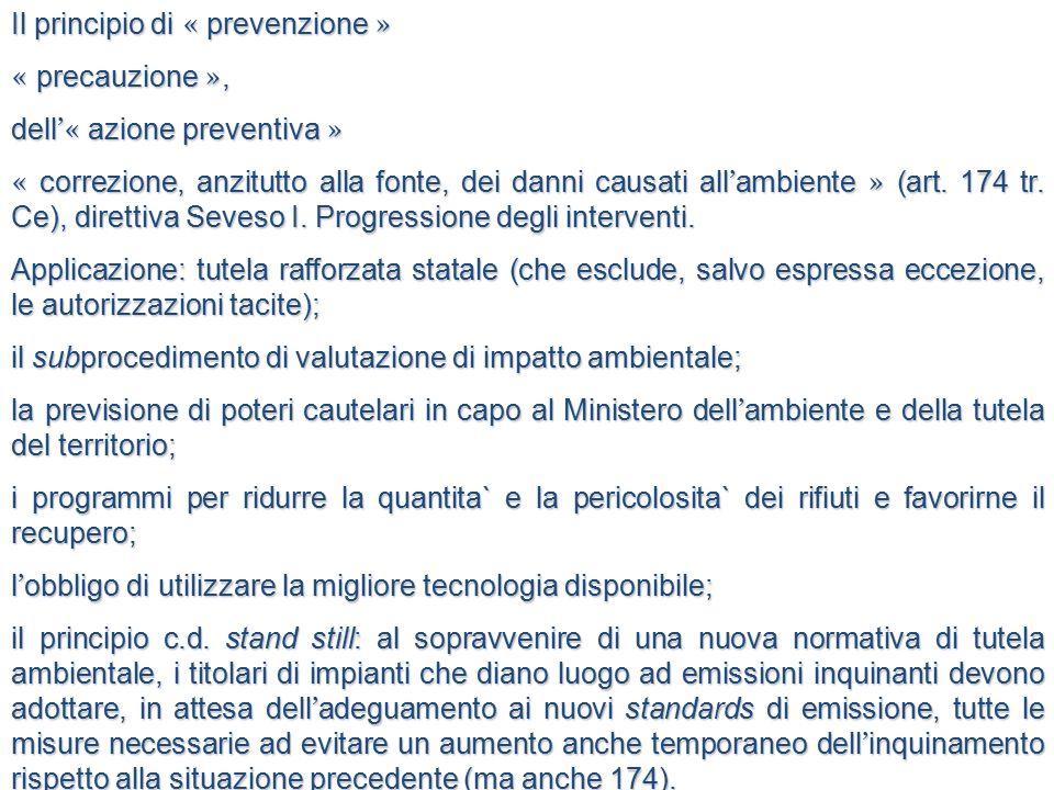 Il principio di « prevenzione »